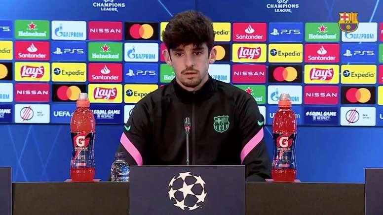 Francisco Trincao spoke in the press conference. Screenshot/BarçaTV+