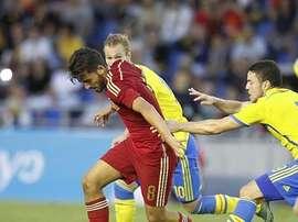 El futbolista del Betis, Dani Ceballos, en el partido de España ante Suecia de la clasificación para la Eurocopa Sub 21. Twitter
