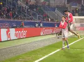 Berisha was the man of the match for Salzburg. Screenshot/MovistarLigadeCampeones