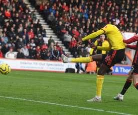 Doucoure hizo el 0-1 al filo del descanso. Twitter/WatfordFC
