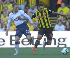 Holebas (R) rescued a point for Watford. Twitter/WatfordFC