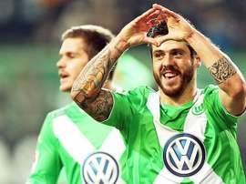 Le joueur du Wolfsburg, Adelino André Vieira Freitas, Vieirinha, célèbre un but. VfL
