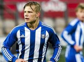 El futbolista finlandés del Bayer Leverkusen, Joel Pohjanpalo, en un partido cuando militaba en el HJK de Helsinki. Bayer04