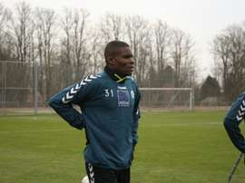 El futbolista ghanés Francis Dickoh, en su primer entrenamiento con el SonderjyskE. Soenderjyske