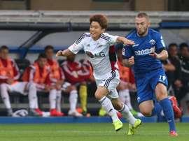 El futbolista surcoreano del Bayer Leverkusen Ryu Seung-woo, en un partido con el club alemán. Bayer04