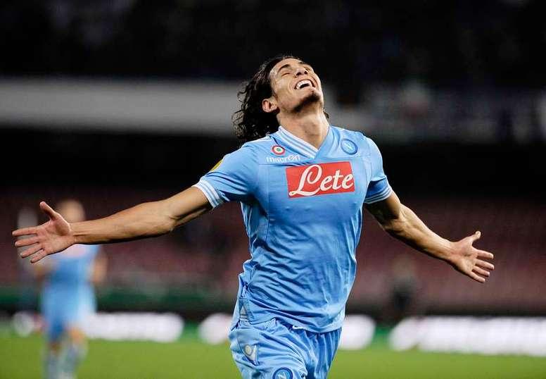 Edinson Cavani celebrating with Napoli. AFP