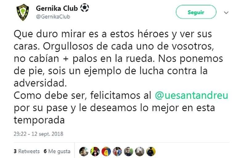 El Gernika no pasó de ronda. Twitter/GernikaClub
