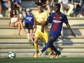El Girona y el Barça B empataron a dos goles. FCBmasia