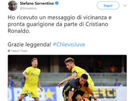 Stefano Sorrentino a reçu un message de CR7. Twitter/Sorrentino