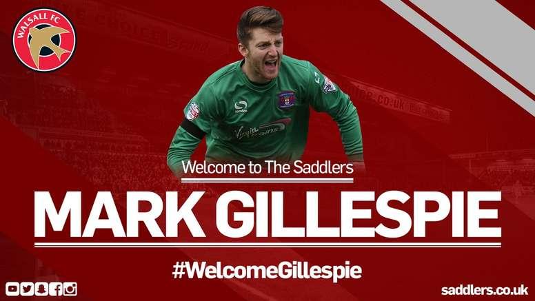 Mark Gillespie, nuevo jugador del Walsall. WFCOfficial