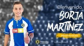 El Hércules anunció la contratación de Borja Martínez. CFHércules