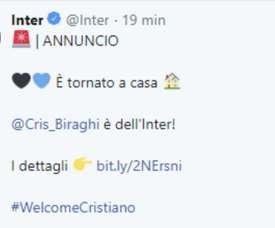 Biraghi retourne à l'Inter Milan. Twitter/Inter