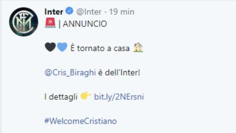 Biraghi vuelve al Inter de Milán. Twitter/Inter