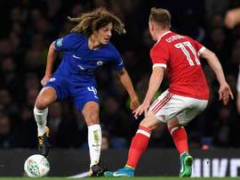 Ethan Ampadu in Carabao cup action for Chelsea. AFP