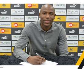 Afobe signed a permanent deal with Wolves. Twitter/Wolves
