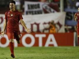 Fernando Gaibor sufrió en escupitajo tras el partido ante San Martín. EFE