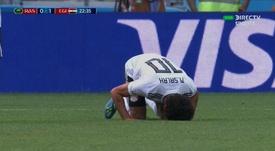 Salah had a mixed day in front of goal. Screenshot/DirecTVSports