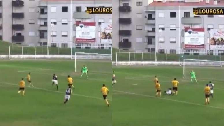 El jugador de Sanjoanense Elder Santana se postuló al Puskas con una chilena. Captura/LourosaTV