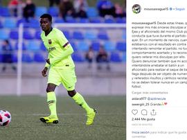 Il a créé la polémique lors du match Ejea-Barça B. Instagram/moussawague15