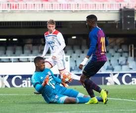 Fati hizo el 2-1 para el Barcelona, en un partido que acabó 3-2. Twitter/FCBmasia