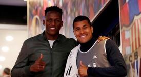 Yerry Mina y Murillo se encontraron en el Camp Nou. Instagram/YerryMina