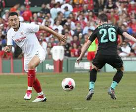 El Sevilla se adelantó, pero el Liverpool empató al filo del descanso. Twitter/SevillaFC