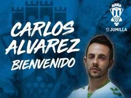 Carlos Álvarez firma para la próxima temporada. Twitter/FCJumilla