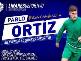 El Linares Deportivo confirmó la contratación de Pablo Ortiz. LinaresDeportivo
