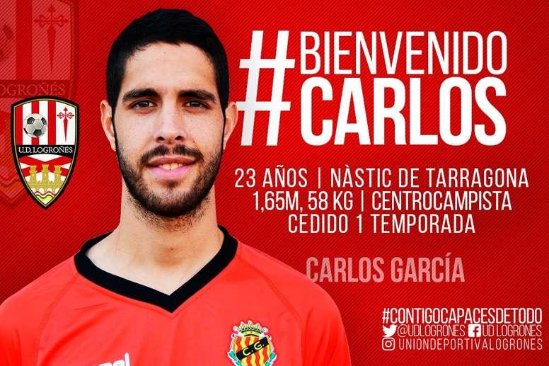 Carlos García quiere relanzar su carrera en el Logroñés. Twitter/UDLogroñes