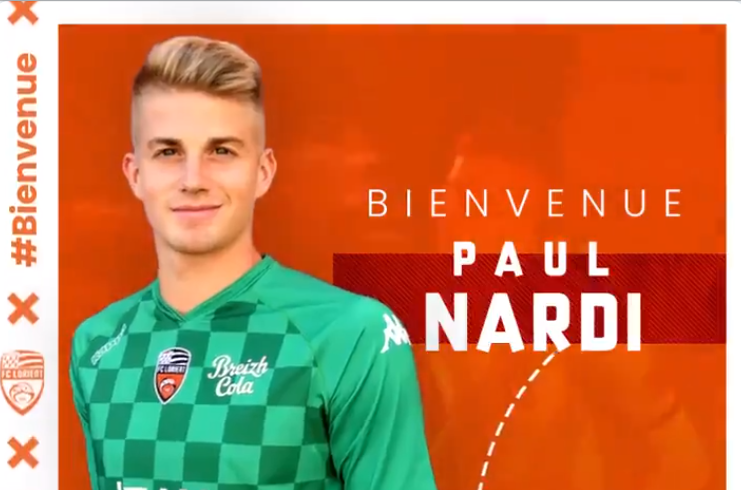 El Lorient anunció el fichaje de Paul Nardi. Twitter/FCLorient