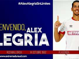 Alex Alegría, al Extremadura. Twitter/EXT_UD