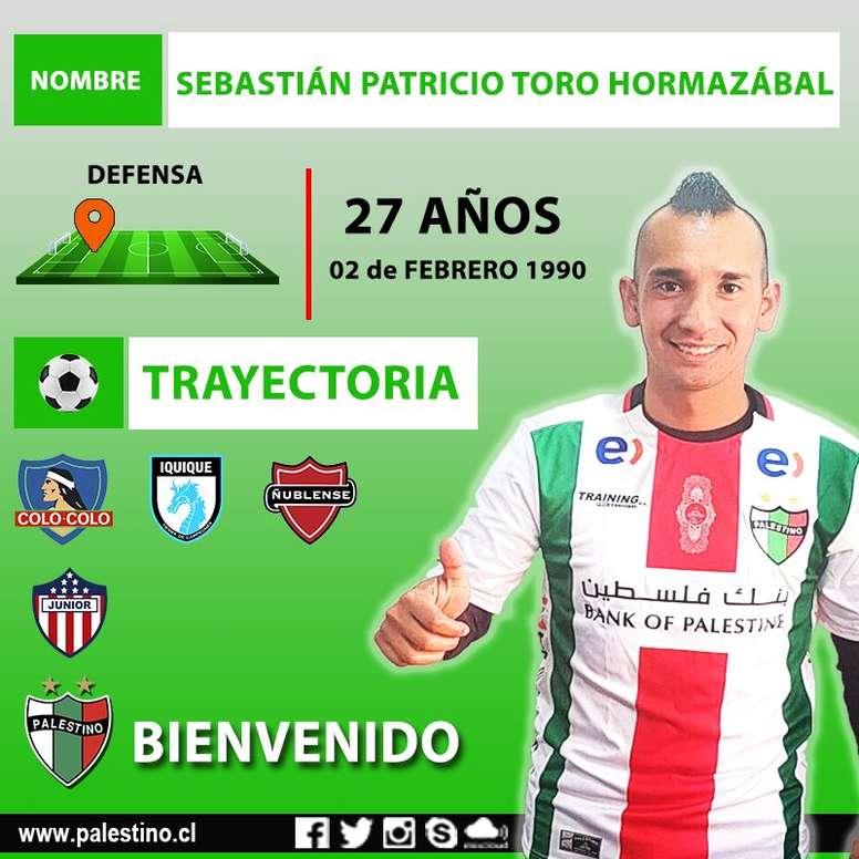 Sebastián Toro, nuevo jugador de Palestino. CDPalestinoSADP