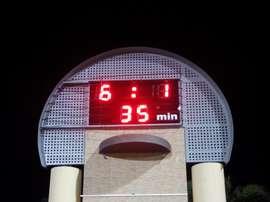 El marcador del estadio Els Arcs de l'Alcúdia refleja el abultado resultado. Twitter