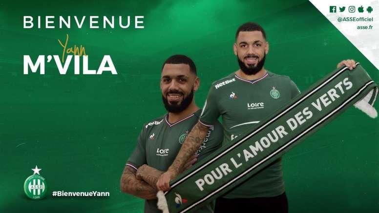 M'Vila regresa a Francia tras su experiencia como cedido en el Sunderland. Twitter/ASSEofficiel