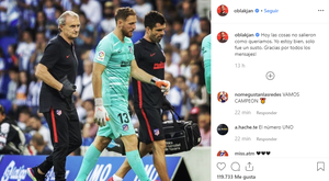 Goleiro tranquiliza fãs. Instagram/oblakjan