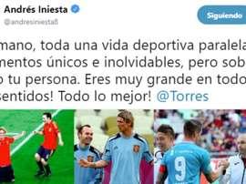 Le message d'Iniesta à Torres après l'annonce de sa retraite. Twitter/AndrésIniesta8
