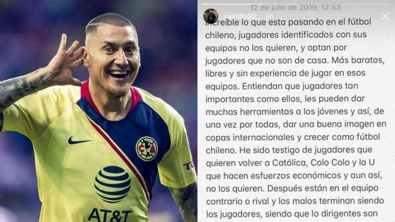 El tremendo palo de Castillo dirigido al fútbol chileno. Montaje/Instagram/NicoCastillo
