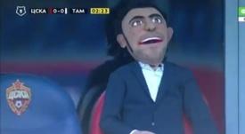 Sustituyeron al director deportivo del CSKA por un muñeco. Captura/NTVRusia