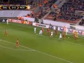 El Niza se puso 0-3 ante el Zulte-Waregem en el minuto 28. Twitter/Fox