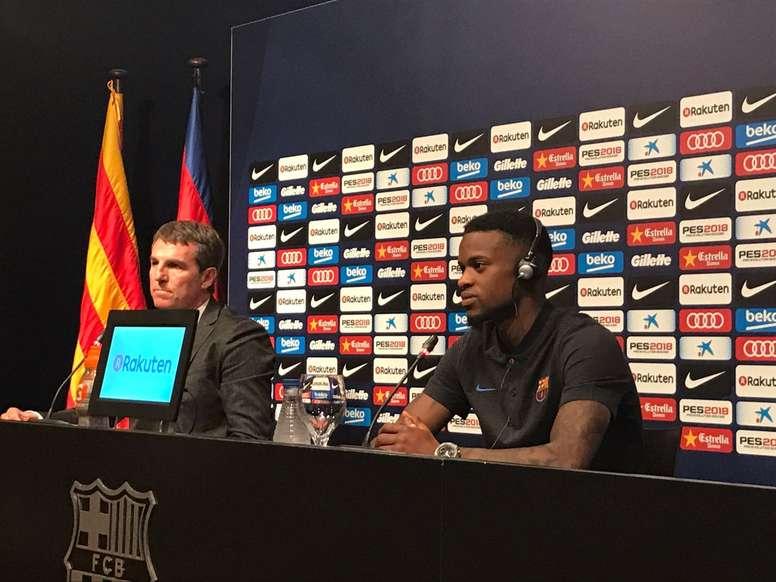 Ida do lateral para a Catalunha vai valer muito dinheiro ao clube de Sintra. Twitter/FCBarcelona