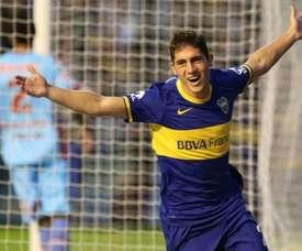 El nuevo jugador de Veracruz Cristian Erbes, celebrando un tanto cuando militaba en Boca. BocaJuniors