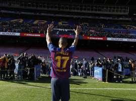 Le défenseur central héritera du maillot d'Alcácer. Twitter/FCBarcelone