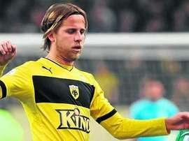 El nuevo jugador del Nàstic Miguel Ángel Cordero, cuando militaba en el AEK de Atenas. GimnasticDeTarragona