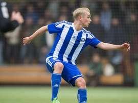 El nuevo jugador del Seinäjoen JK, Matti Klinga, en un partido cuando defendía los colores del HJK Helsinki. HJK