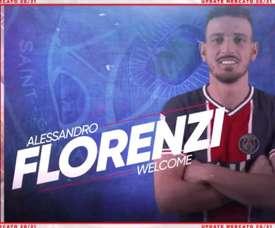 Florenzi arrives at PSG. Captura/Twitter/PSG_inside