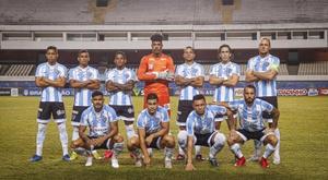 El homenaje de Paysandu a Maradona: emuló la imagen de la final de México'86. Twitter/Paysandu
