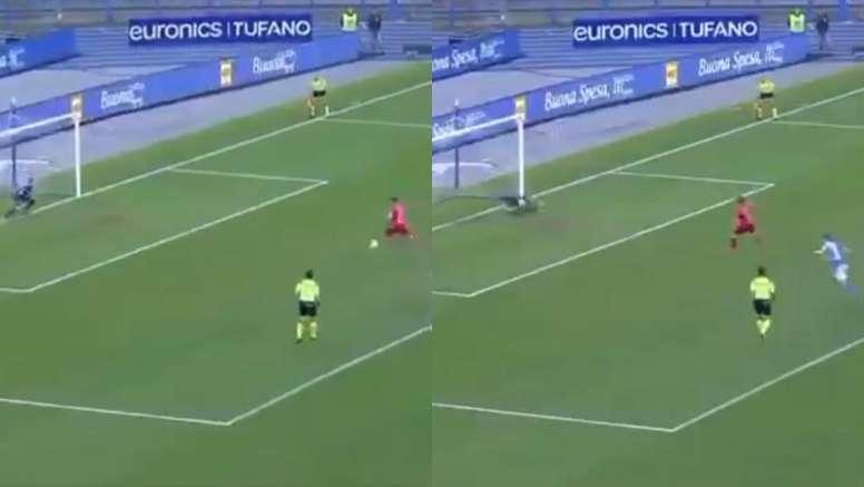 David Ospina salvó el 2-1 con un paradón en el penalti de Iemmello. Captura/Twitter/DAZN