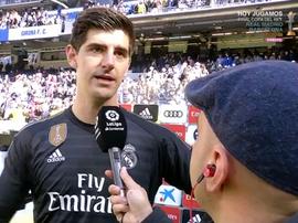 Courtois a donné son point du vu sur le match. Capture/RealMadridTV