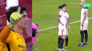 El Sevilla venció por la mínima. Capturas/Twitter/MovistarFutbol
