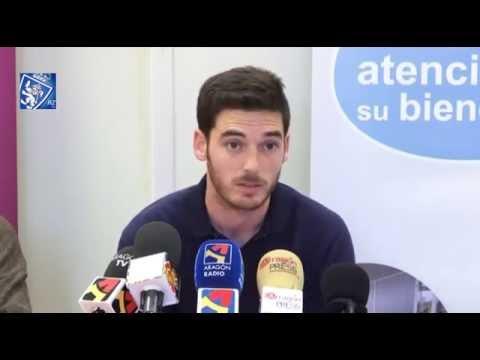 El portero del Zaragoza Pablo Alcolea, en una rueda de prensa. RealZaragoza